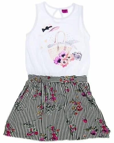 Φόρεμα Ριγέ με Λουλούδια