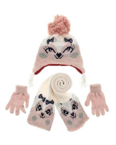 Πλεκτό Σετ Σκούφος με Κασκόλ και Γάντια «Kitten»
